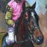 """Jockey & Thoroughbred"" by KerrysOriginalArt"
