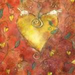 """""""Valentine gold heart with two bunnies"""" by moiramunro"""