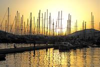 Masts at Sunset at Bodrum, Turkey