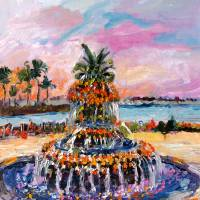 """Pine Apple Fountain Charleston South Carolina Oil"" by Ginette Callaway"