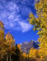Maroon Bells, Clouds and Aspen Trees