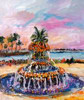 Pineapple Fountain Charleston South Carolina Oil P