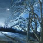 """Louisiana Pasture: Blue Landscape at Night"" by Lenora"