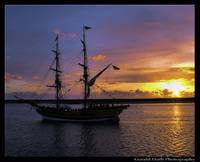 Lady Washington at sunset. Morro Bay, California