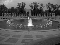 World War II Memorial at dusk