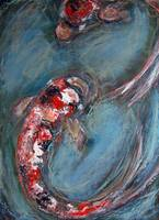 2 koi expressionist painting
