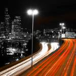 """Approaching Seattle on I-5 at night bw_color"" by robgerman"