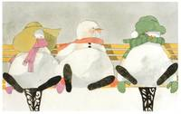 Snowmen on a Park Bench