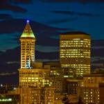 """""""Seattle City Buildings at Night"""" by robgerman"""