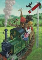 Cartoon Animals on a day trip on a steam train