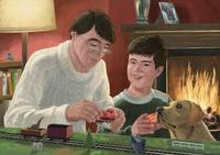 father and son building toy train set