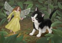 Magic Fairy in garden with little Kitten