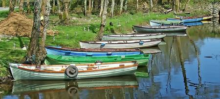 Boats Near Cast;e Ross, Killarney National Park, R