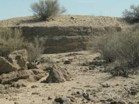Old stone foundation in desert