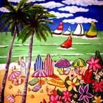 """Whimsical Beach Scene"" by reniebritenbucher"