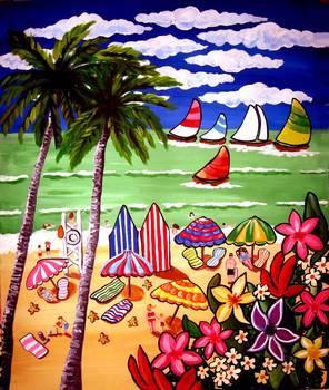 Whimsical Beach Scene By Renie Britenbucher