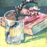"""Blossoming Almond Branch in a Glass with a Book"" by ArtLoversOnline"