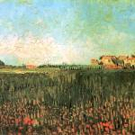 """Farmhouses in a Wheat Field Near Arles"" by ArtLoversOnline"