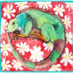 """""""Iguana with Daisies on a Red Background"""" by KarenStrumLLC"""