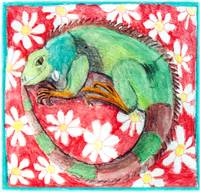 Iguana with Daisies on a Red Background