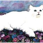 """""""White Long Haired Cat Sitting on Floral Fabric"""" by KarenStrumLLC"""