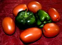 Plum Tomatoes and Bell Peppers