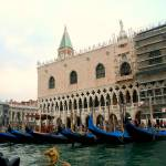 """Gondolas in front of the Venetian Doge"