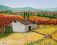 STONE BARN IN FALL