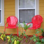 """Front porch with red chairs"" by Philippa"