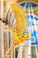 Angel Soaring stained glass