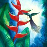 """Hummingbird and Heliconia Watercolor"" by savanna"