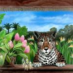 """Jaguar and Orchids - Tropical Wildlife Floral"" by savanna"