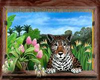 Jaguar and Orchids - Tropical Wildlife Floral by Savanna Redman