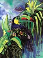 Keel-billed Toucan and Black Orchid