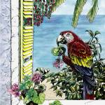 """Scarlet Macaw and the Sea - watercolor and ink"" by savanna"