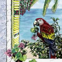 """Scarlet Macaw and the Sea  watercolor and ink"" by Savanna Redman"