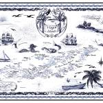 """Virgin Island Nautical Chart Delft Blue Ink Drawi"" by savanna"