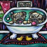 """Smiling pugs in bath"" by artbyangie"