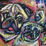 """smiling pug abstract"" by artbyangie"