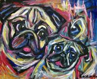 smiling pug abstract