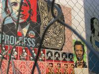 Sheppard Fairey painting, 14th Street, Washington,
