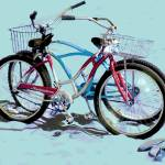 """Bikes on the Beach blue sand"" by LeslieTillmann"