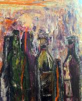 Bottles Mixed Media on Masonite by SKG 2