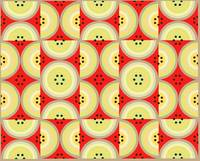 Circles Olive Red yellow taupe AB large