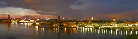 Estocolmo, Stockholm, at night, panorama