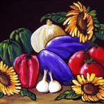"""Still Life with Eggplant and Sunflowers"" by reniebritenbucher"