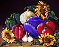 Still Life with Eggplant and Sunflowers