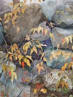 Rock Wall with Autumn Leaves and Berries