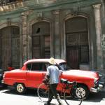 """""""red car and man with bike"""" by gustinegirl"""
