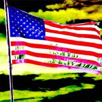 """Dark american flag patriotic sky earth abstract"" by BuehlStuff"